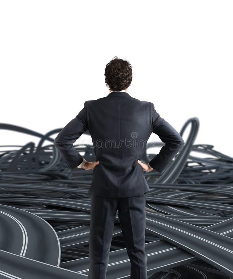 Escolhas de um homem de negócios e de um conceito difícil da carreira imagem de stock