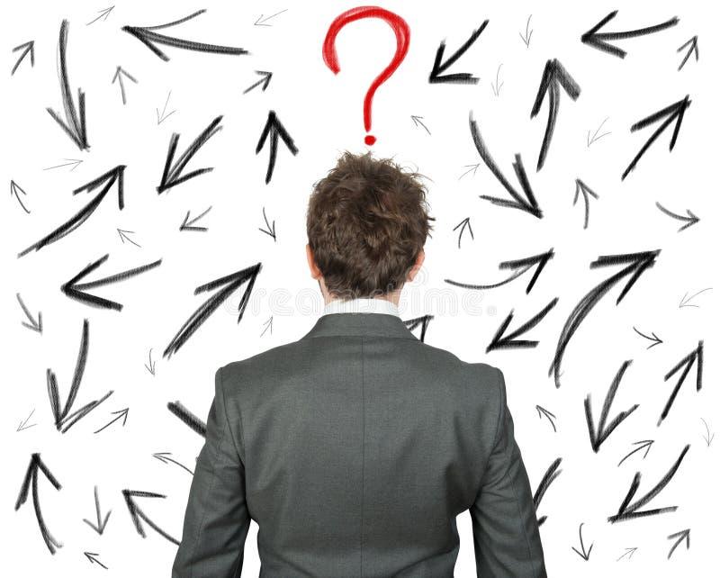 Escolhas difíceis de um homem de negócios imagem de stock