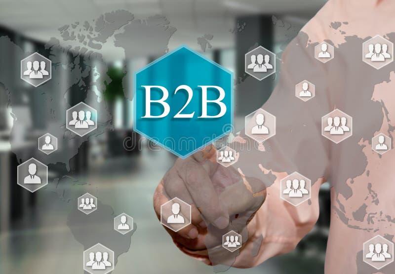escolhe B2B, interempresarial no tela táctil com um fundo do escritório do borrão ilustração do vetor