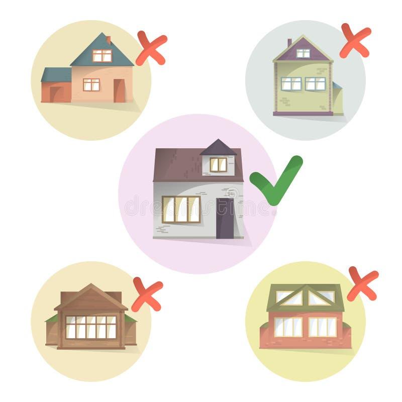 Escolhendo a casa direita para viver, compare casas diferentes e a propriedade, fazendo uma casa da escolha, a seleta e do tiquet ilustração stock