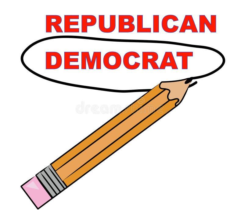 Escolhendo a democrata ilustração stock