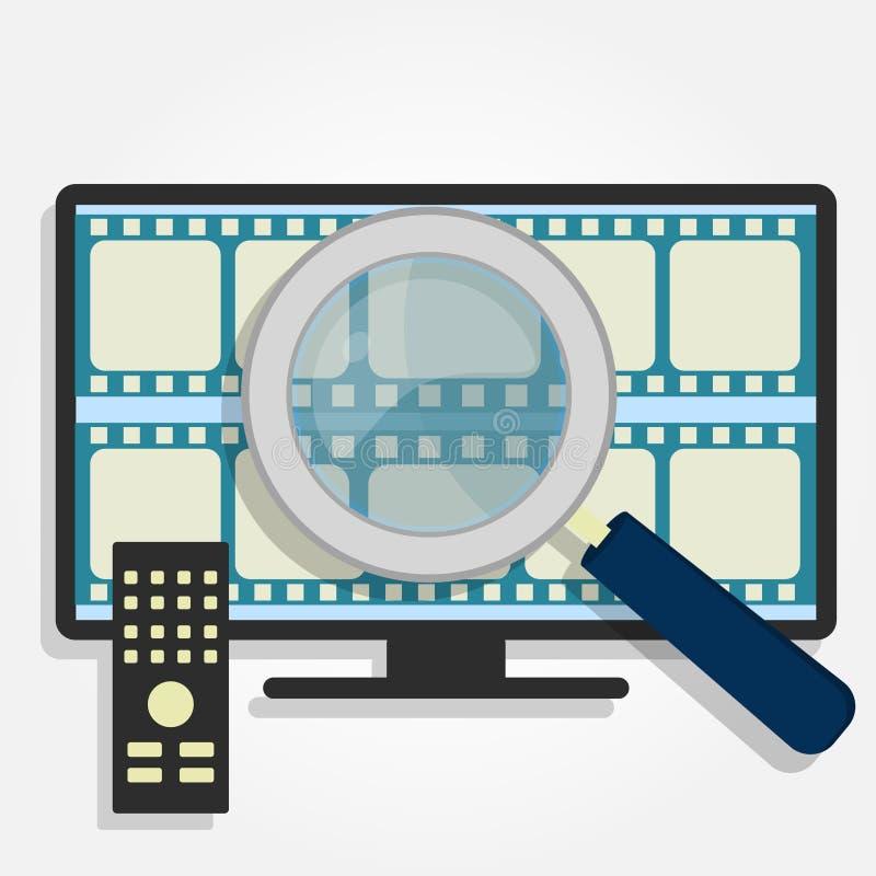 Escolhendo filmes na tevê ilustração stock