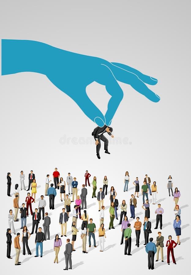 Escolhendo a pessoa adequada em um grupo de executivos ilustração do vetor