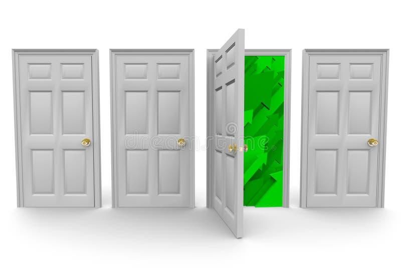 Escolhendo a porta direita ao sucesso ilustração royalty free