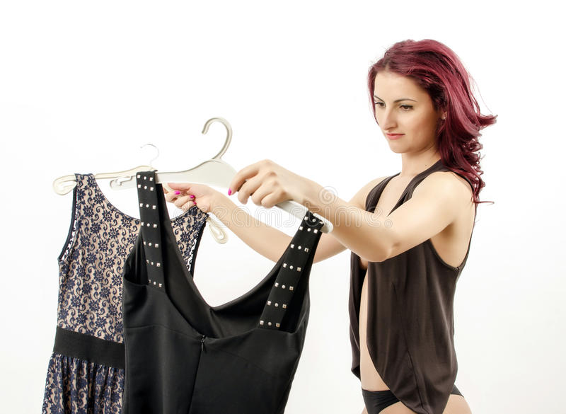 Escolhendo um vestido foto de stock