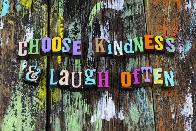 Escolher bondade risada muitas vezes rir desfrutar da frase tipográfica do sorriso fotografia de stock