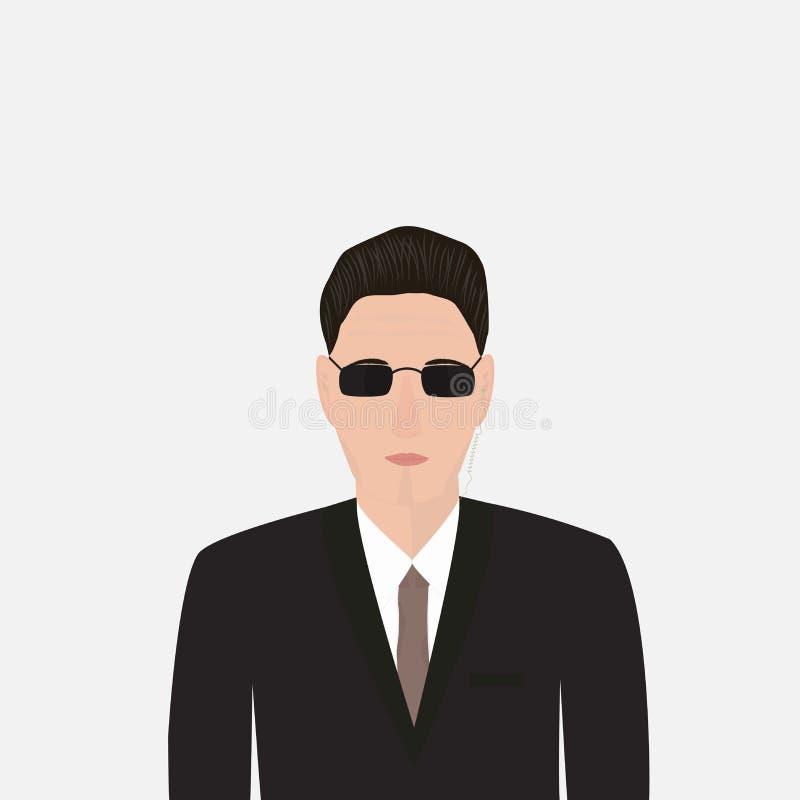 Escolta en un traje negro ilustración del vector