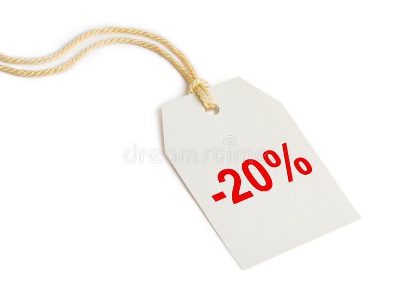 Escompte 20% d'étiquette photos libres de droits
