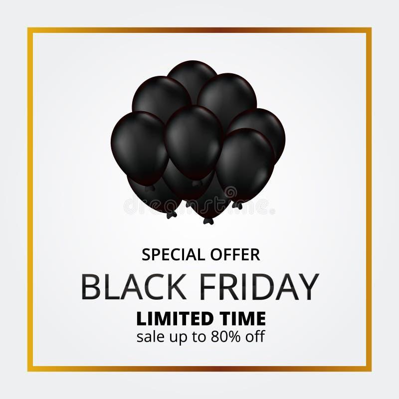 Escompte de promotion de la vente du vendredi noir élégant avec illustration du ballon à gaz hélium volant noir 3D illustration stock