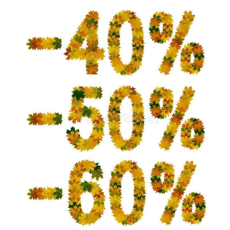 Escompte quarante, cinquante, soixante pour cent. Texte des feuilles d'automne jaunes, vertes et orangées de l'érable. Isoler su photo stock