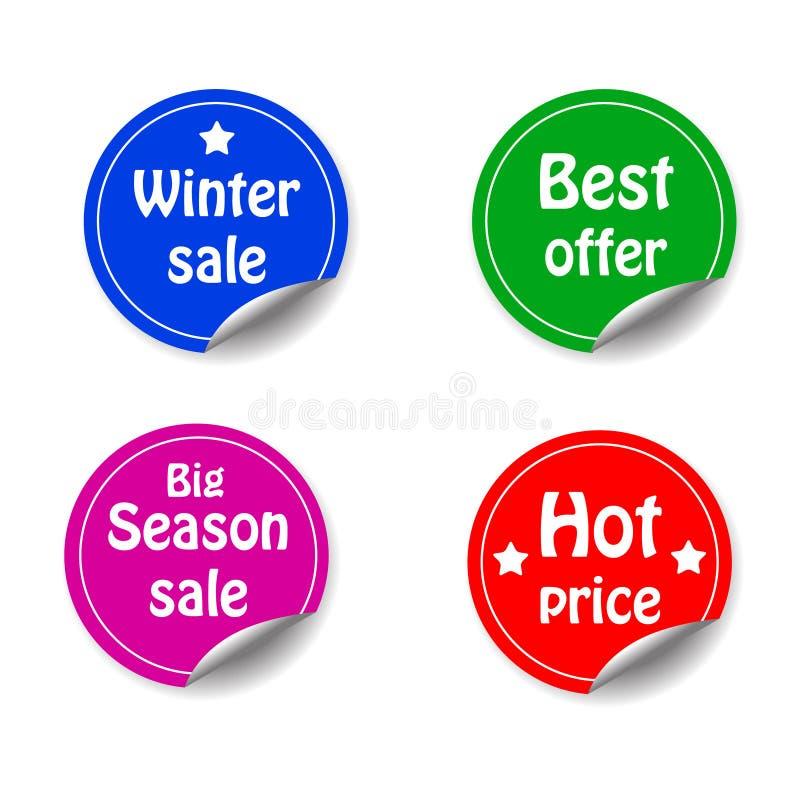 Escomptez l'autocollant de cercle avec la promotion faisante le coin courbée s de vente illustration stock