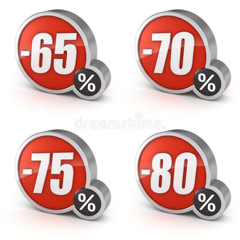 Escomptez l'icône de la vente 3d de 65% 70% 75% 80% sur le fond blanc illustration de vecteur