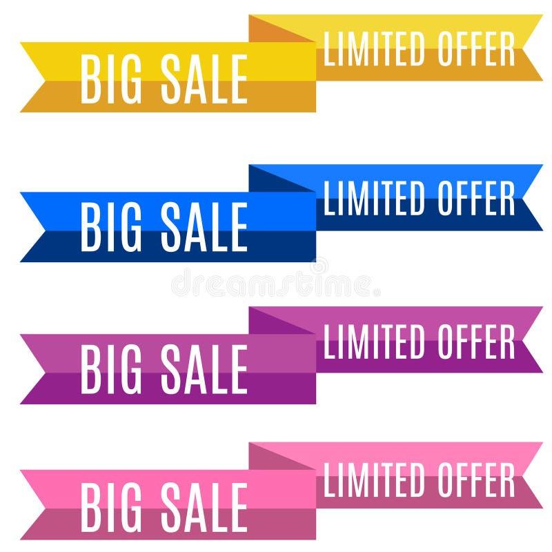 Escomptez vente de rubans de bannière la grande - collection limitée d'offre photo stock