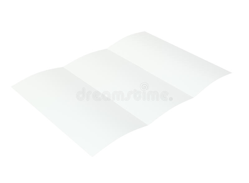 Esconda el folleto doblado representación 3d en el fondo blanco fotografía de archivo