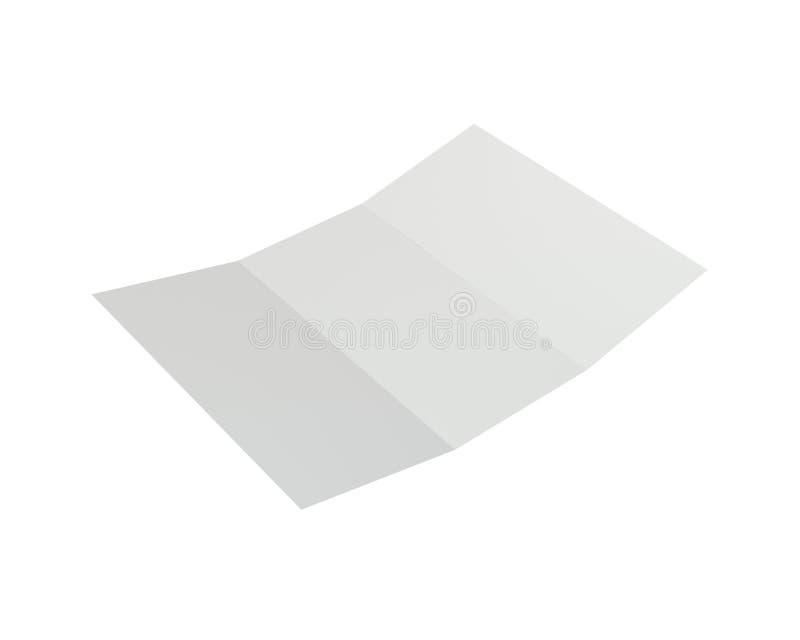 Esconda el Libro Blanco doblado del prospecto representación 3d foto de archivo libre de regalías
