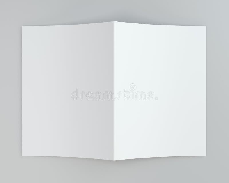 Esconda el Libro Blanco doblado del prospecto representación 3d Fondo gris imágenes de archivo libres de regalías