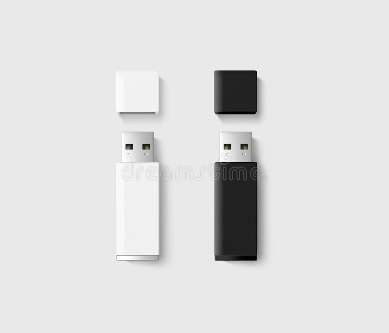 Esconda el sistema abierto de la maqueta del diseño de memoria USB, negro, blanco foto de archivo libre de regalías
