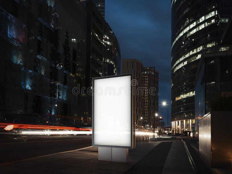 Esconda la bandera iluminada en la noche en la ciudad representación 3d libre illustration