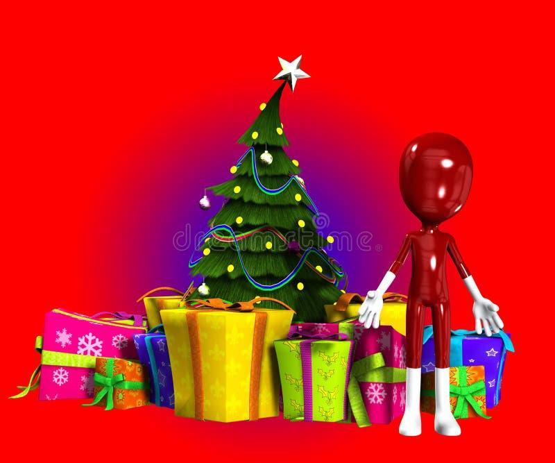 Esconda la figura con el árbol de navidad ilustración del vector