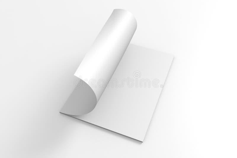 Esconda la revista abierta aislada en blanco ilustración del vector