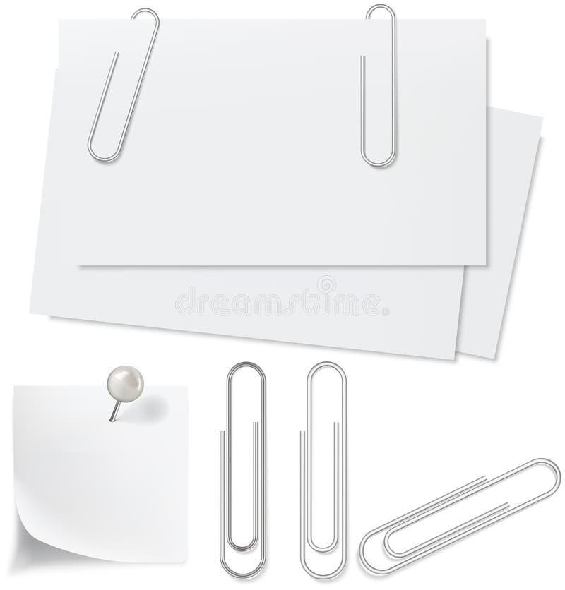 Esconde el Libro Blanco, el perno y el clip ilustración del vector