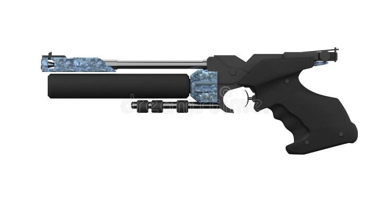 Escopeta de aire comprimido atlética, perfil del izquierdo, negro fotos de archivo