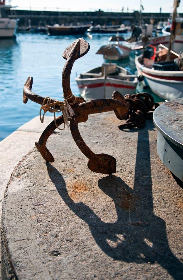 Escora e barcos - Camogli fotografia de stock