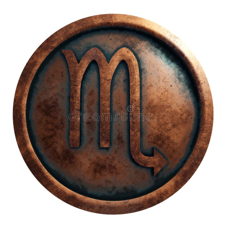 Escorpião do sinal do horóscopo no círculo de cobre fotografia de stock