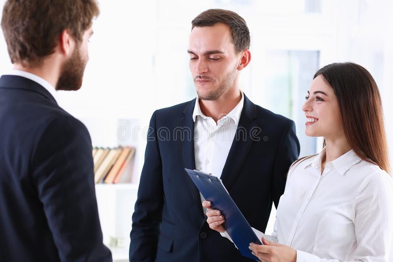 Escort service interpreter works with the. Transaction accompanies documents conclusion of the contract important situation. Arab businessman and his translator royalty free stock image