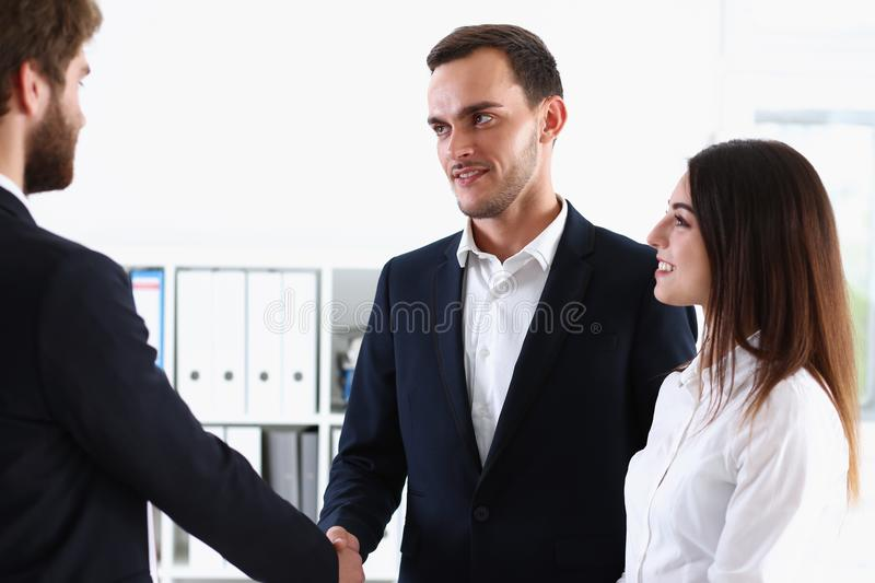 Escort service interpreter works with transaction. Escort service interpreter works with the transaction accompanies documents conclusion of the contract royalty free stock photo