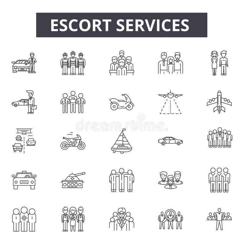 _escorte services tuyau de service icône pour Web et mobile conception Signes Editable de course Concept d'ensemble de services d illustration de vecteur