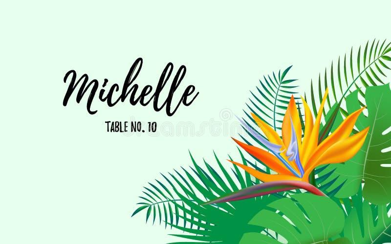 Escortekaart, huwelijksuitnodiging met de tropische exotische achtergrond van het bloemkader, bloemenelementenetiket Vector ontwe stock illustratie