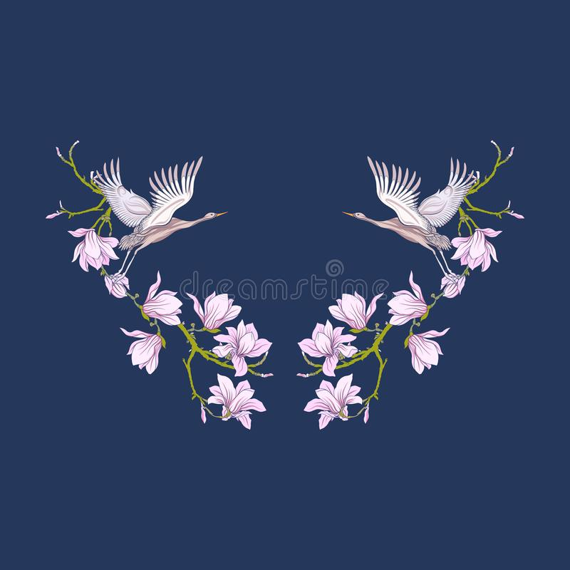 Escote con las flores y la grúa en fondo negro Línea común libre illustration