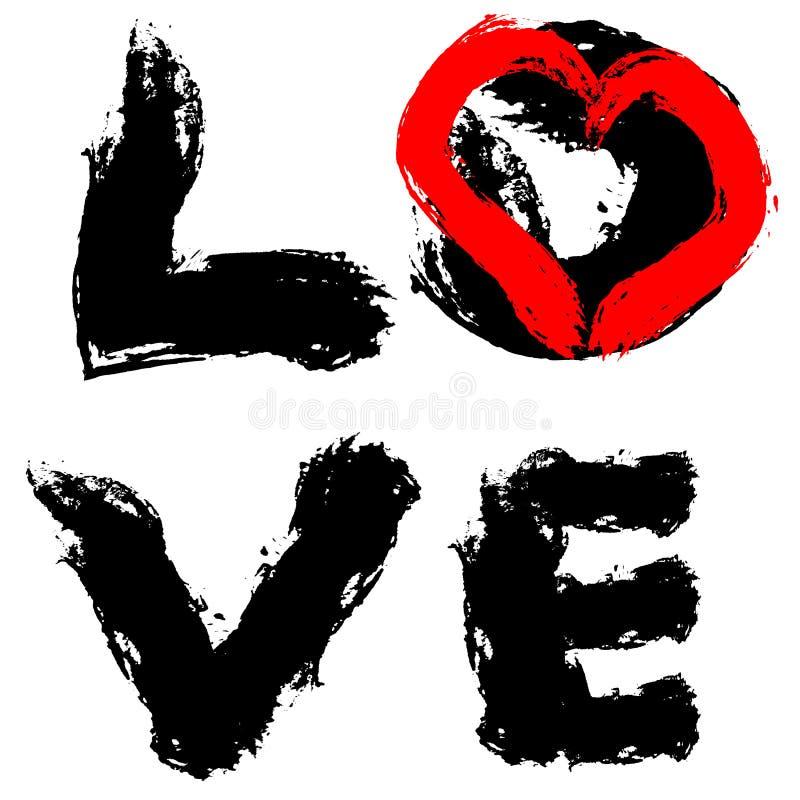 Escova áspera do preto vertical escrito à mão do amor da inscrição ilustração do vetor