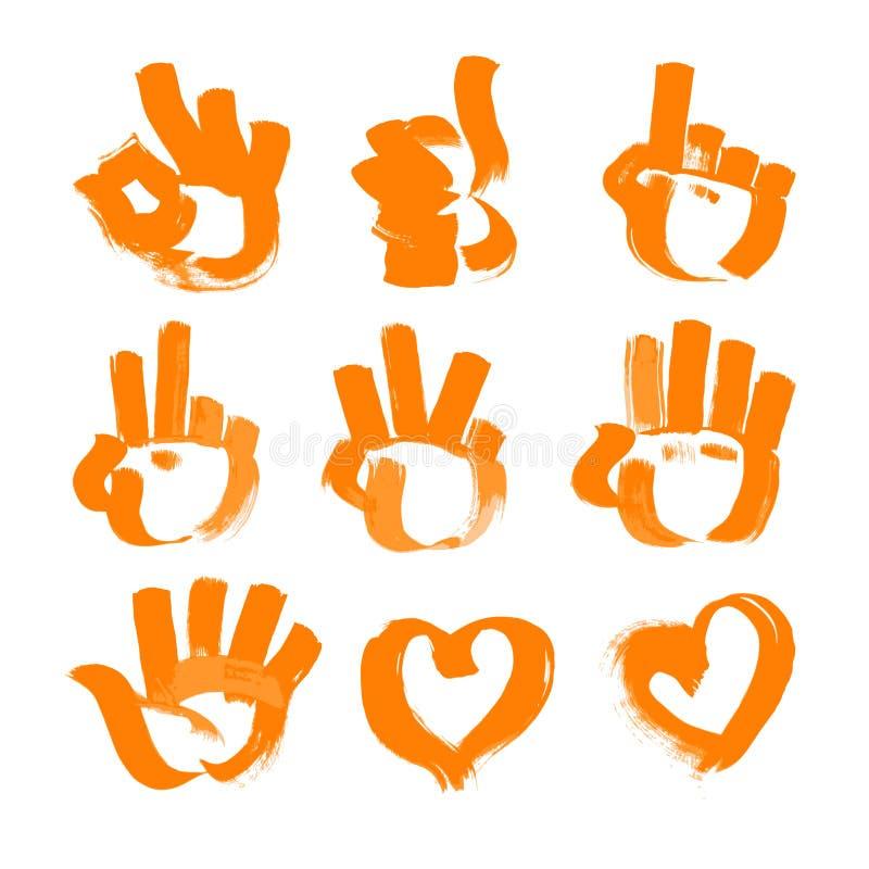 A escova alaranjada afaga as numeral-mãos e o coração ilustração royalty free