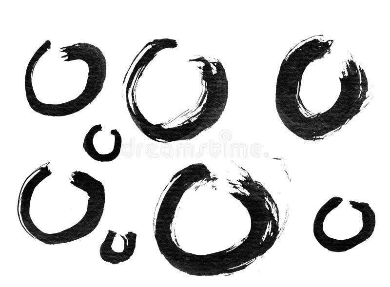Escova chinesa da caligrafia da tinta ilustração stock