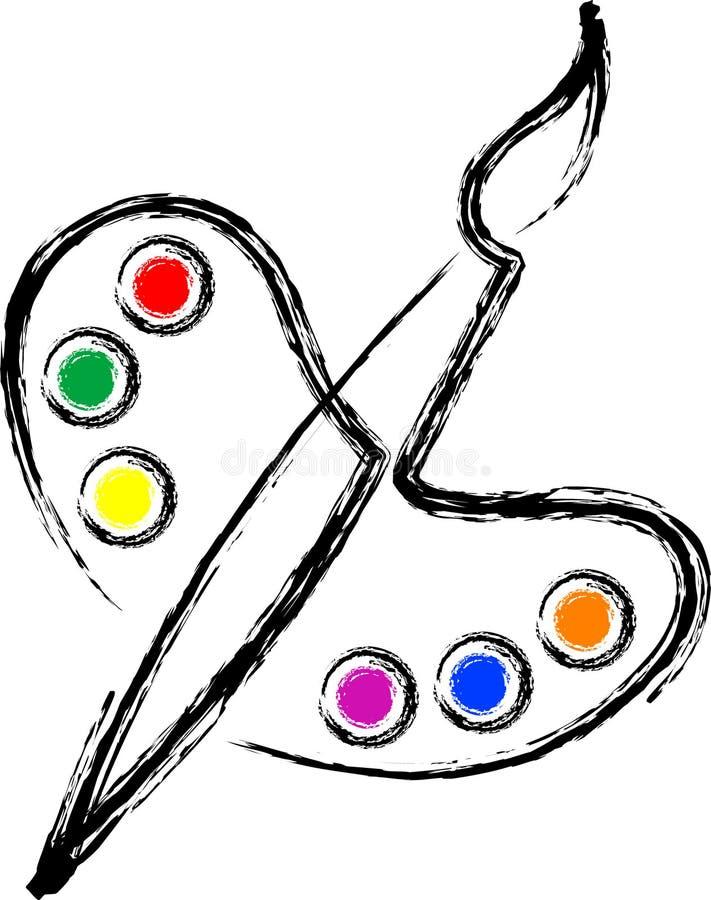Escova com borboleta da pálete ilustração do vetor