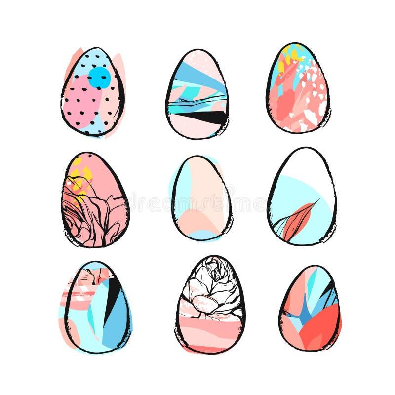 A escova criativa tirada mão da Páscoa do sumário do vetor pintou o grupo da coleção dos ovos com motivo floral nas cores pastel  ilustração royalty free