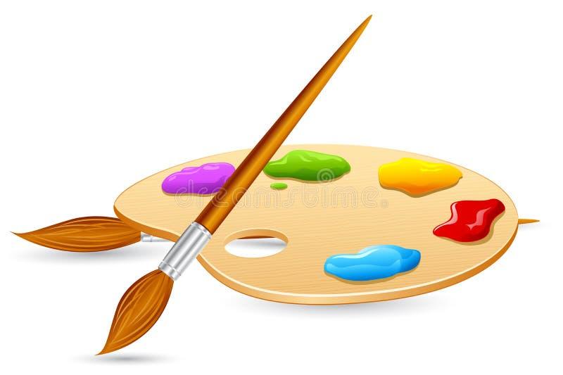 Escova da cor e pálete da cor ilustração do vetor