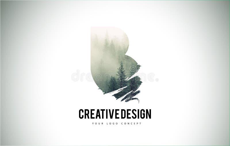Escova da letra de B com Forest Fog Texture Forest Trees Letter Logo ilustração do vetor