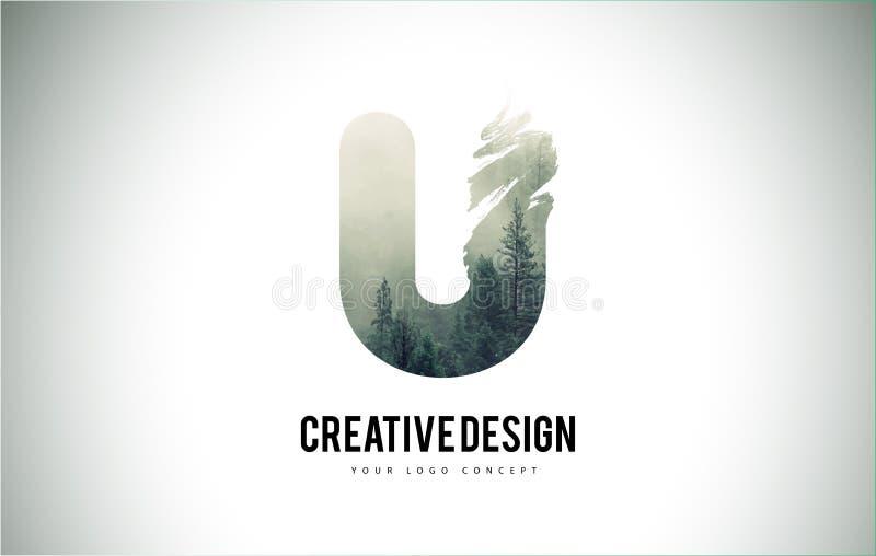 Escova da letra de U com Forest Fog Texture Forest Trees Letter Logo ilustração do vetor