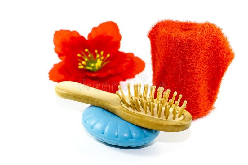 Escova da massagem com a luva azul do sabão e da massagem foto de stock