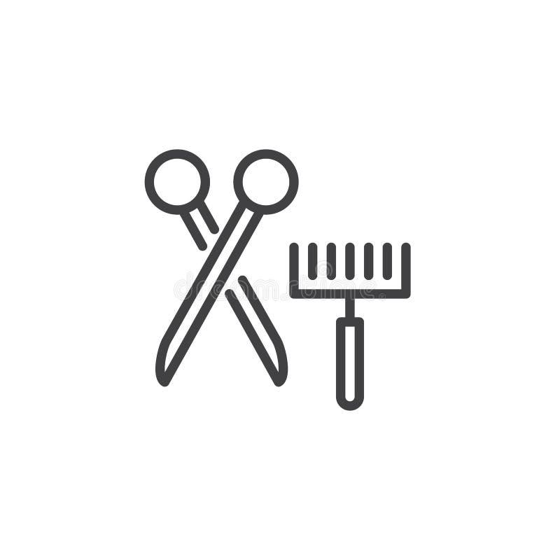 Escova da preparação do animal de estimação e linha ícone das tesouras ilustração royalty free