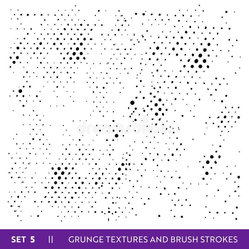 A escova da tinta afaga a coleção do Grunge Grupo de elementos sujo do projeto Pinte chapinha, linhas sujas a mão livre ilustração do vetor