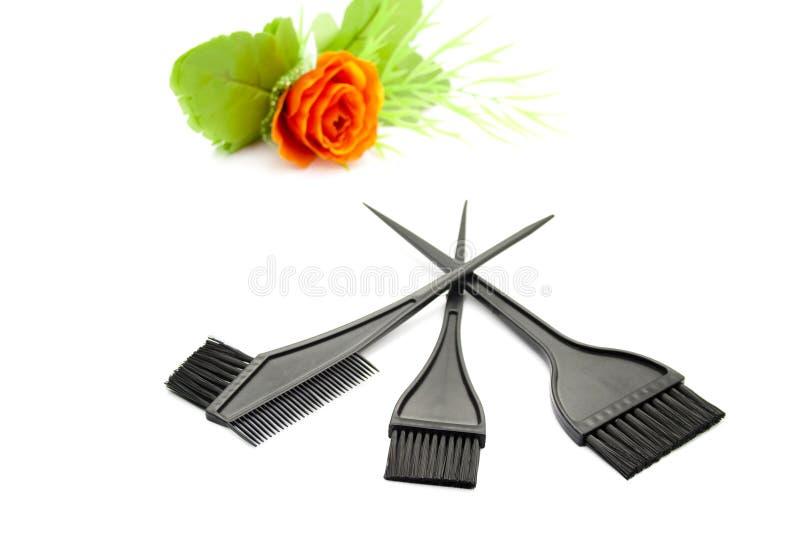 Escova de cabelo diferente para colorir imagem de stock royalty free