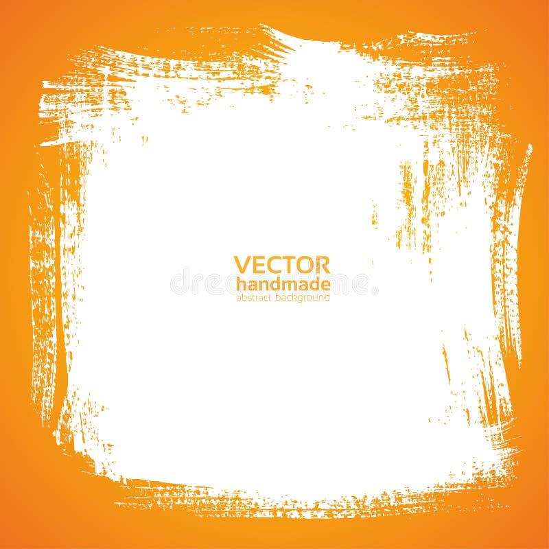 Escova de cerda da pintura da mancha do fundo na laranja ilustração do vetor