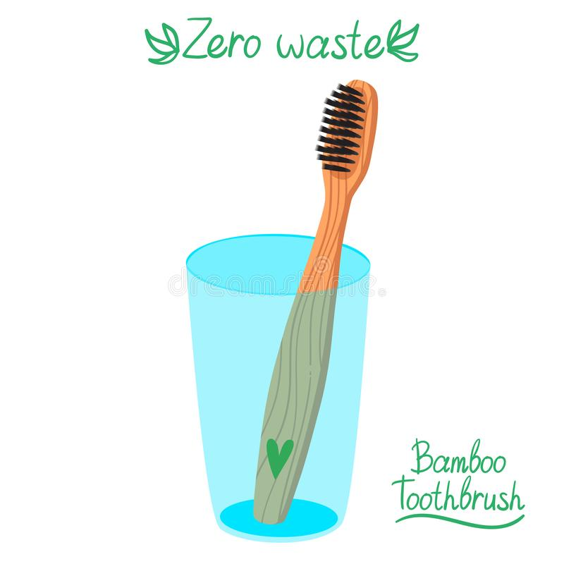 Escova de dentes de bambu de Eco no vidro ilustração stock