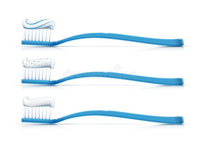 Escova de dentes com dent?frico Vassoura dental Ajustado para a higiene do dente Ilustra??o do vetor ilustração stock