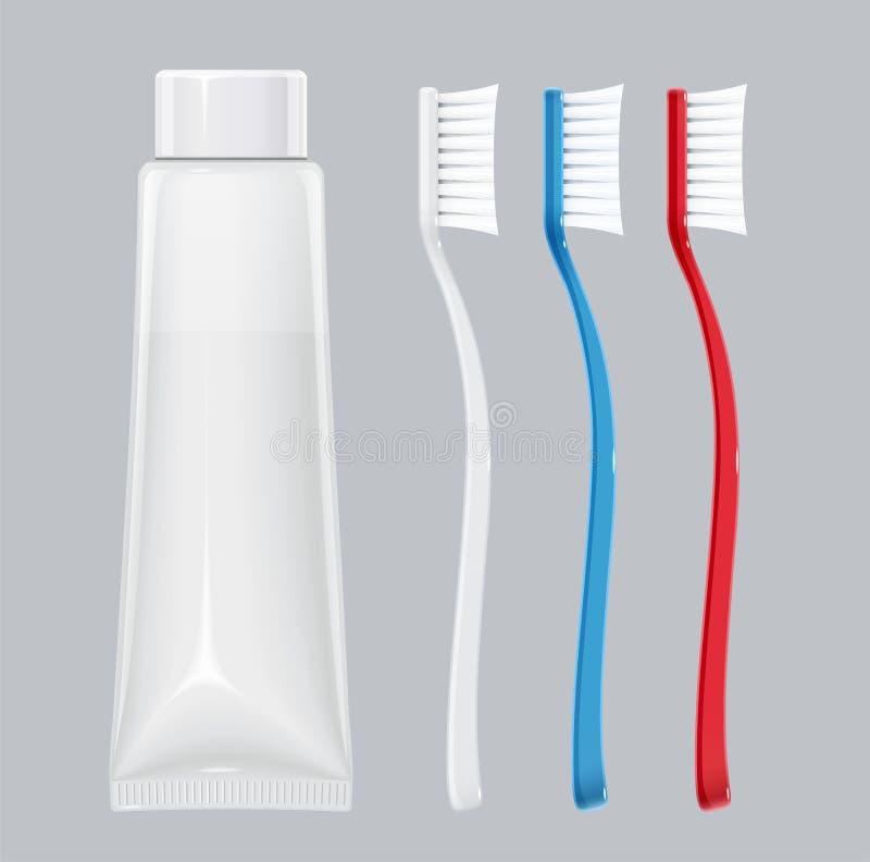 Escova de dentes com tubo de dentífrico Vassoura dental Ajustado para a higiene do dente Ilustra??o do vetor ilustração do vetor