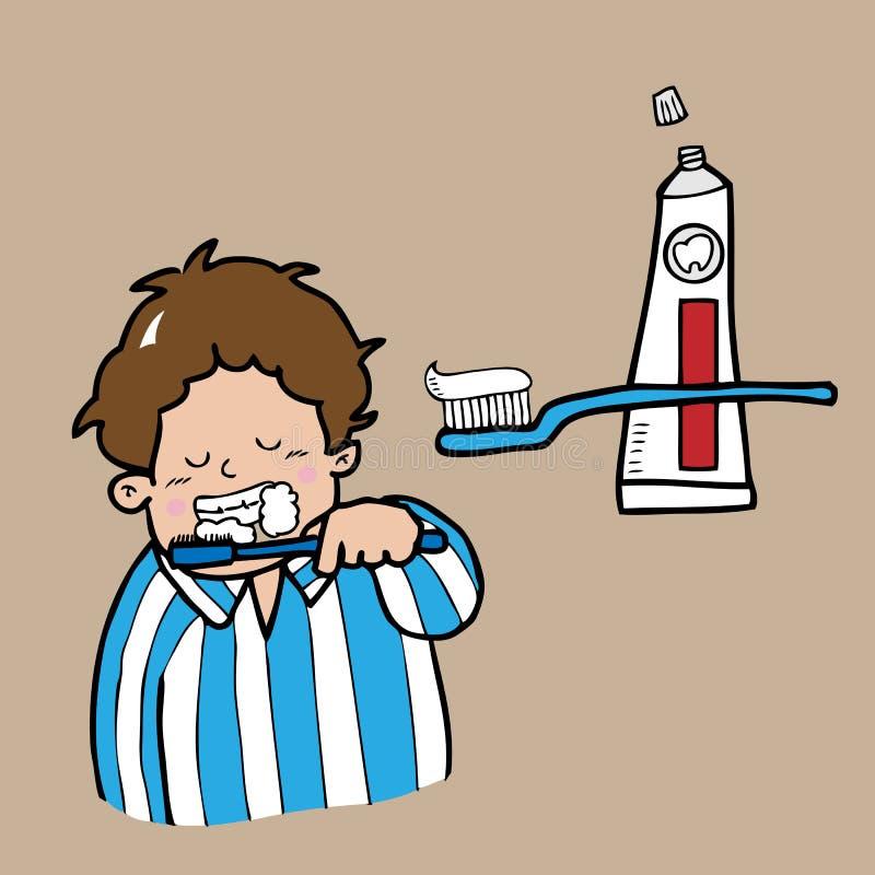 Escova de dentes do menino ilustração stock